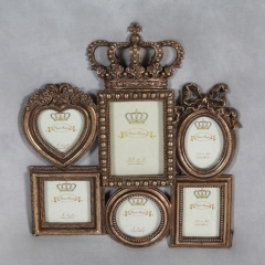 Antique Gold Crown Multi Photo Frame grand